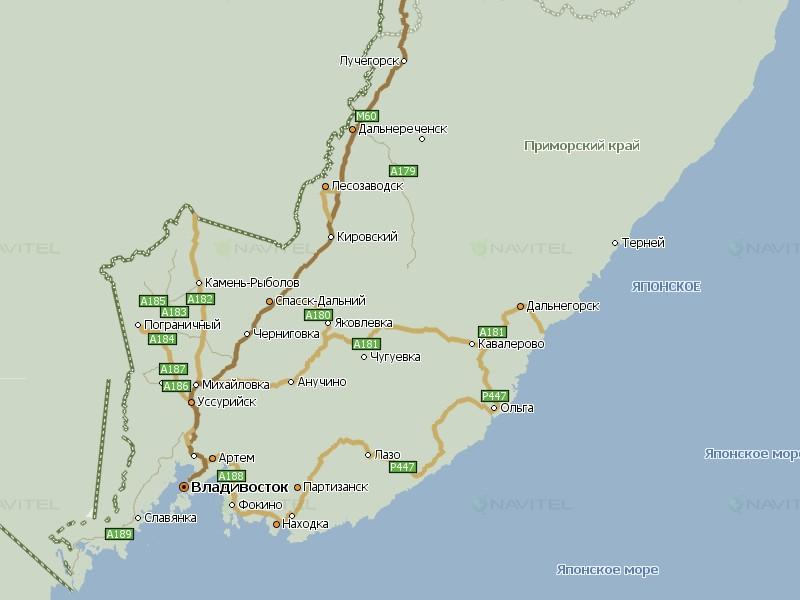 Карта Приморского края Навител Навигатор