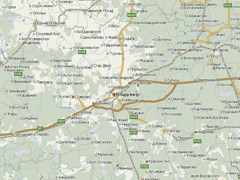 Карта Владимирской области для Навител