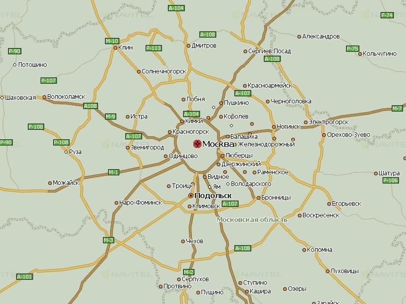 Карта Московской области для Навител Навигатор