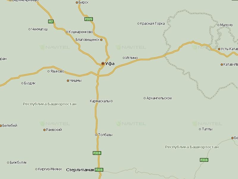 Карта Уфы и Башкирии для Навител Навигатор