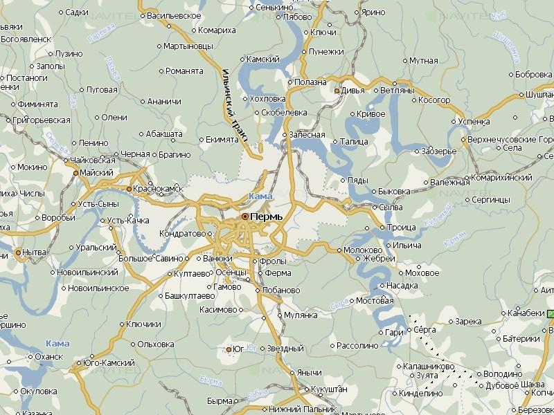 Карта Пермского края для Навител Навигатор