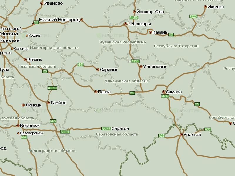 Карта Приволжского федерального округа для Навител Навигатор